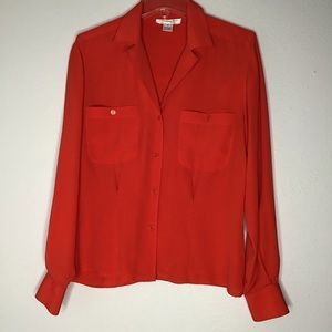 Christian Dior Chemises Red Long Sleeve Top Sz 4